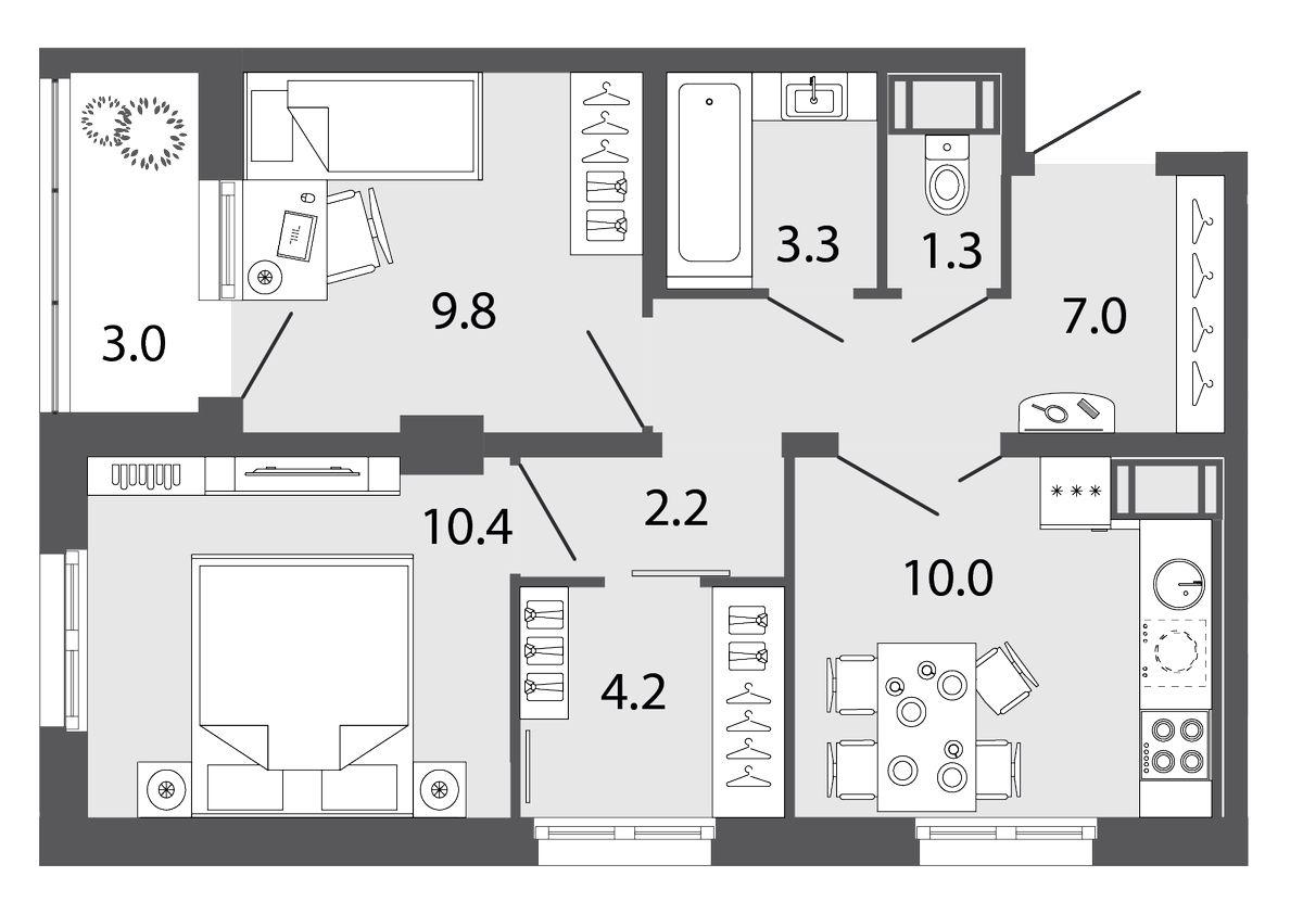 Планировка Двухкомнатная квартира площадью 48.2 кв.м в ЖК «Ultra City II очередь»