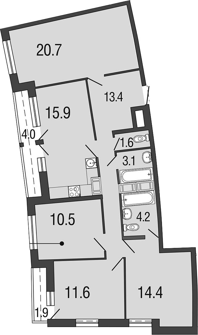 Планировка Четырёхкомнатная квартира площадью 101.3 кв.м в ЖК «Ultra City»