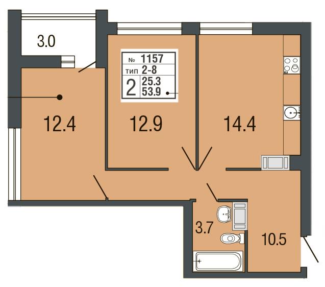 Планировка Двухкомнатная квартира площадью 54.6 кв.м в ЖК «Ultra City»