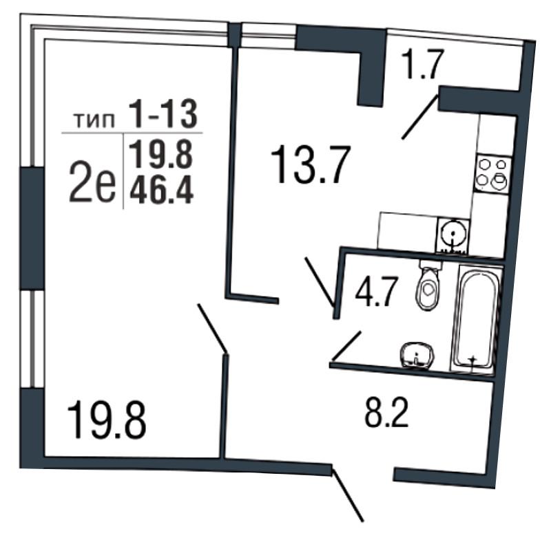 Планировка Однокомнатная квартира площадью 46.4 кв.м в ЖК «Ultra City»