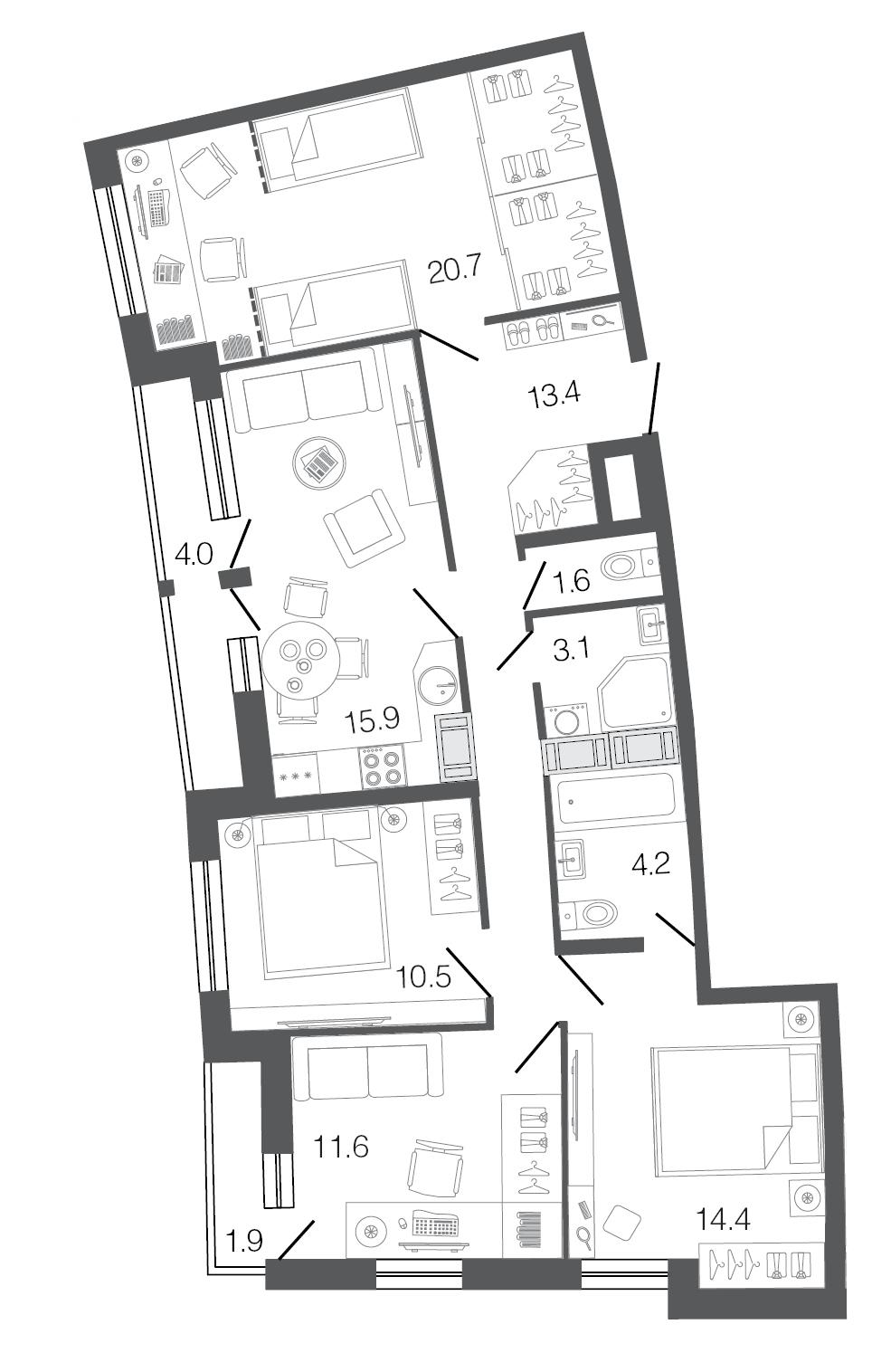 Планировка Четырёхкомнатная квартира площадью 95.4 кв.м в ЖК «Ultra City»