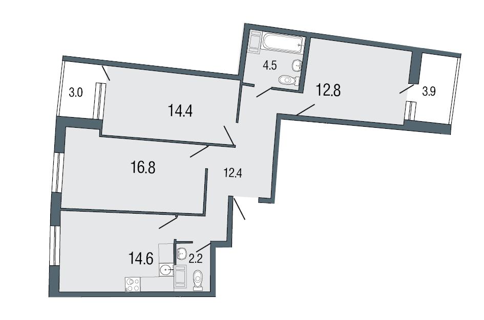 Планировка Трёхкомнатная квартира площадью 77.7 кв.м в ЖК «Ultra City»