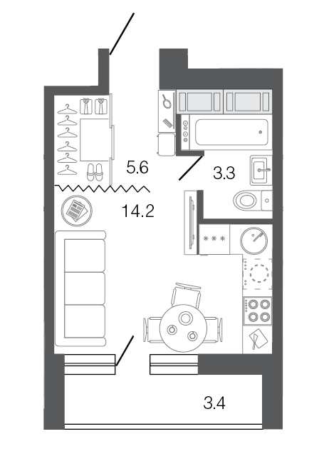 Планировка Студия площадью 23.1 кв.м в ЖК «Ultra City I очередь»