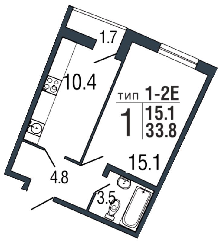 Планировка Однокомнатная квартира площадью 33.8 кв.м в ЖК «Ultra City»