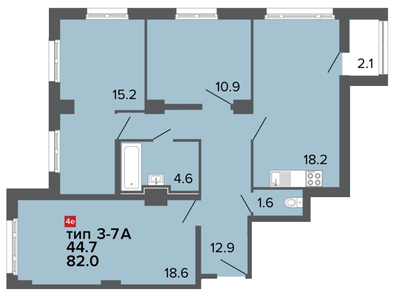 Планировка Трёхкомнатная квартира площадью 82 кв.м в ЖК «Ultra City»