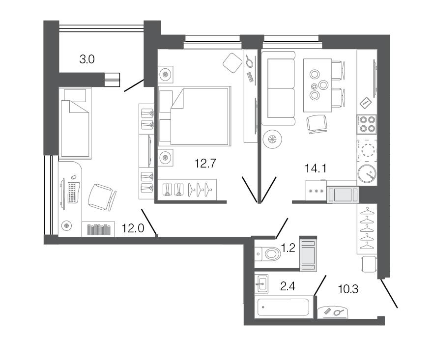 Планировка Двухкомнатная квартира площадью 52.7 кв.м в ЖК «Ultra City»
