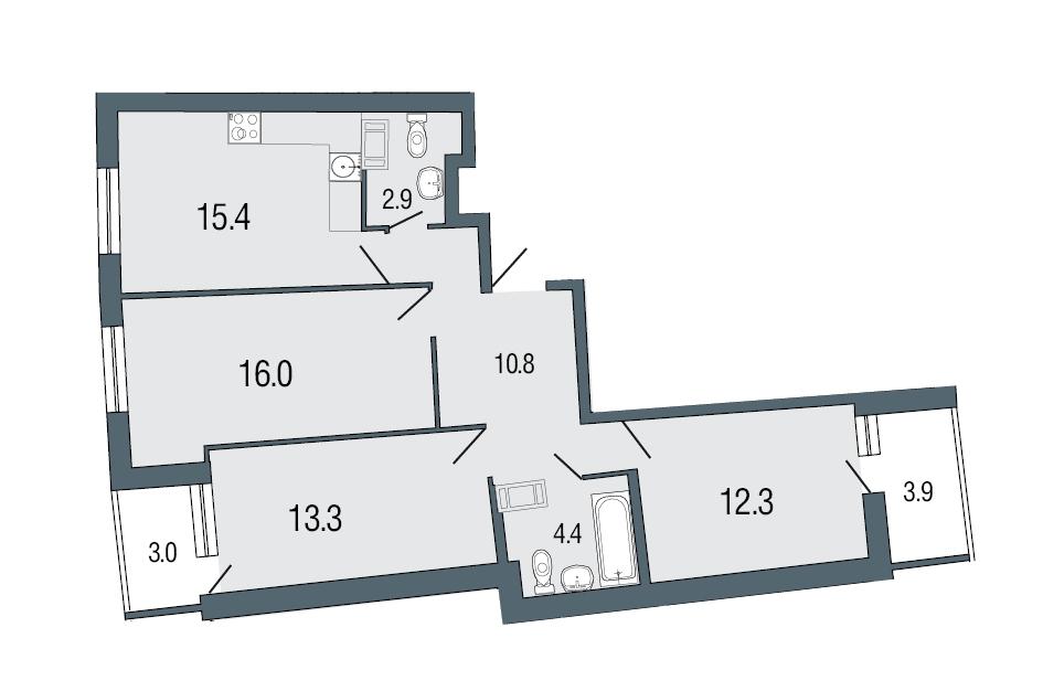 Планировка Трёхкомнатная квартира площадью 75.1 кв.м в ЖК «Ultra City»