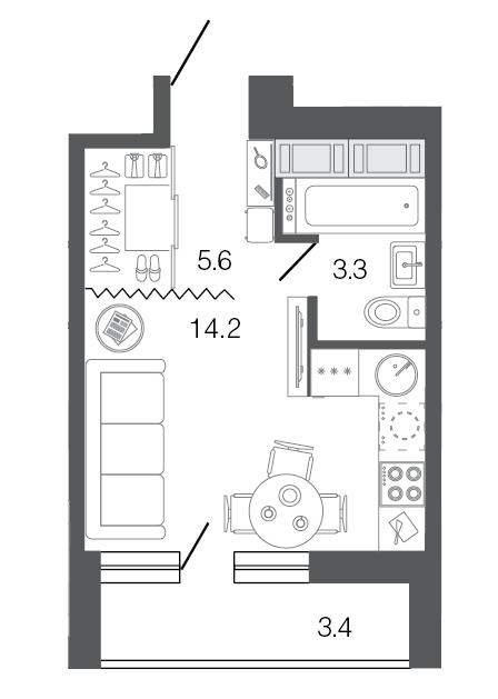 Планировка Однокомнатная квартира площадью 23.1 кв.м в ЖК «Ultra City»