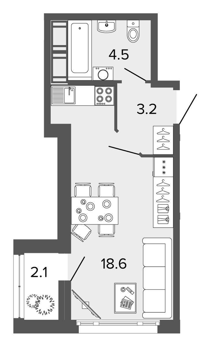 Планировка Однокомнатная квартира площадью 26.3 кв.м в ЖК «Ultra City II очередь»