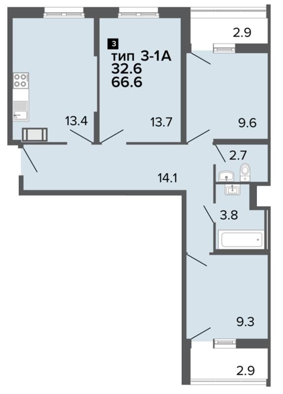 Планировка Трёхкомнатная квартира площадью 66 кв.м в ЖК «Ultra City»