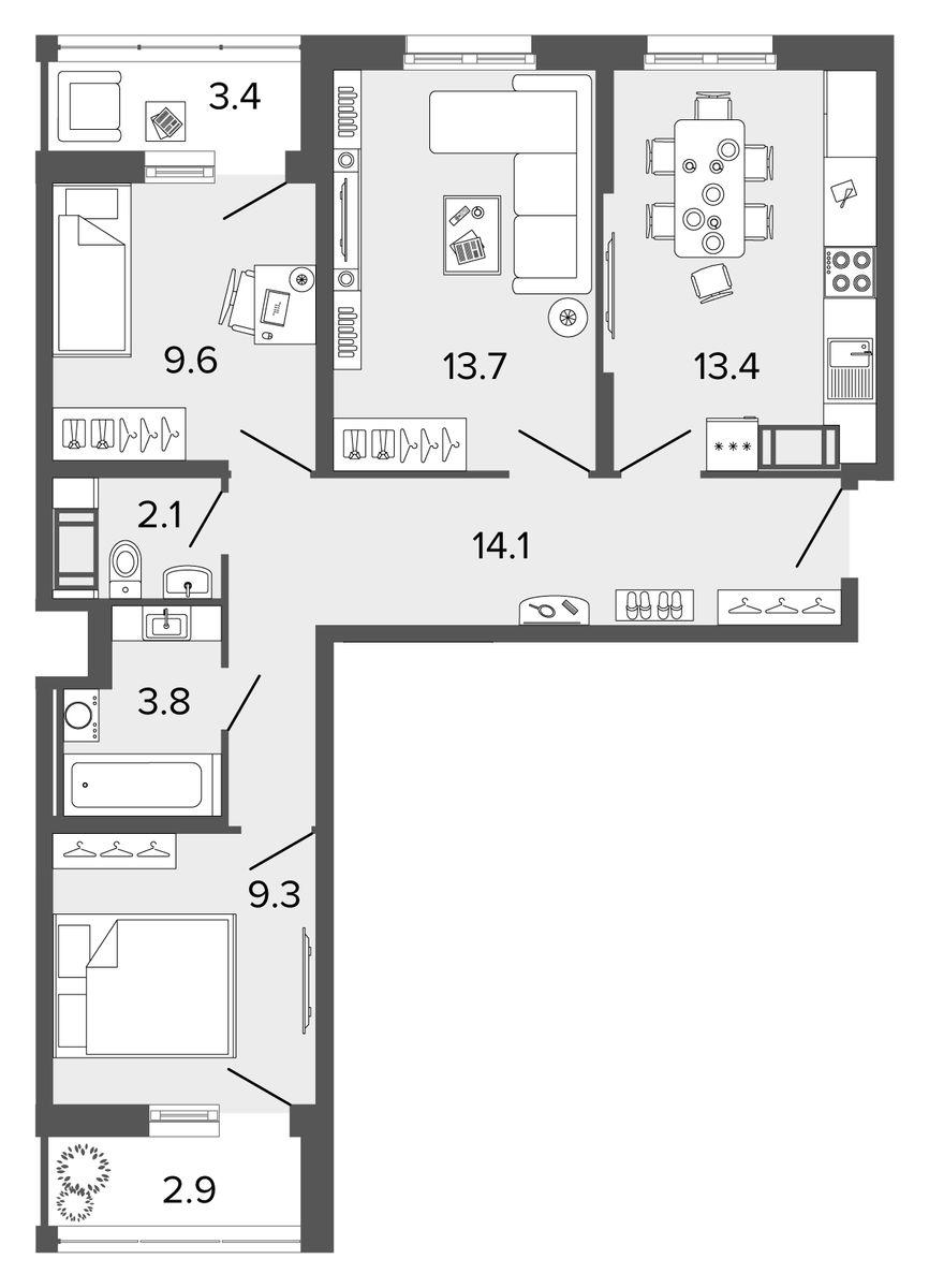 Планировка Трёхкомнатная квартира площадью 66 кв.м в ЖК «Ultra City II очередь»