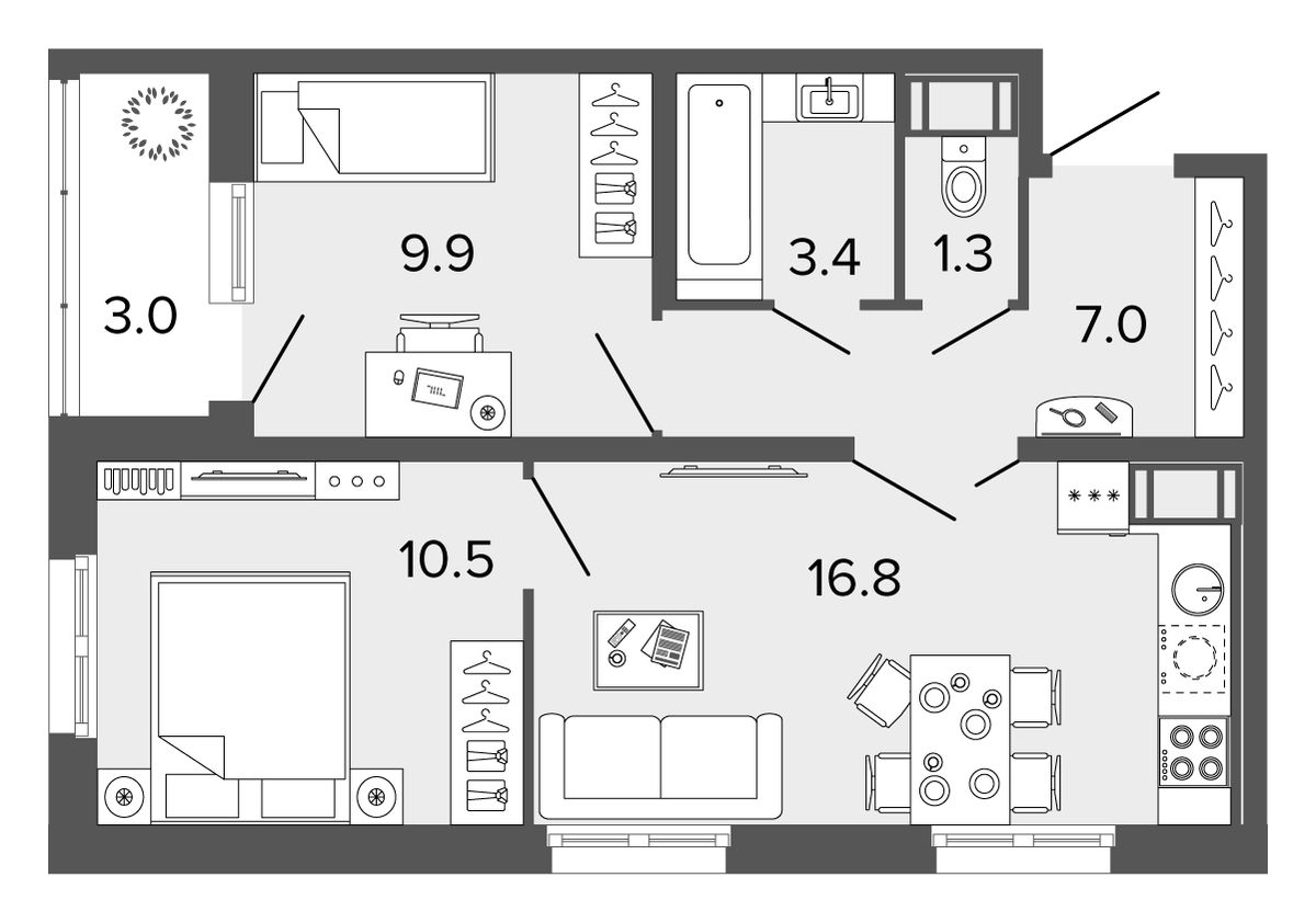 Планировка Двухкомнатная квартира площадью 48.9 кв.м в ЖК «Ultra City II очередь»