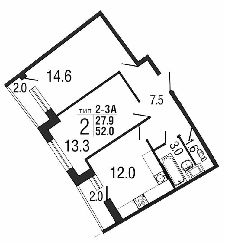 Планировка Двухкомнатная квартира площадью 52 кв.м в ЖК «Ultra City»
