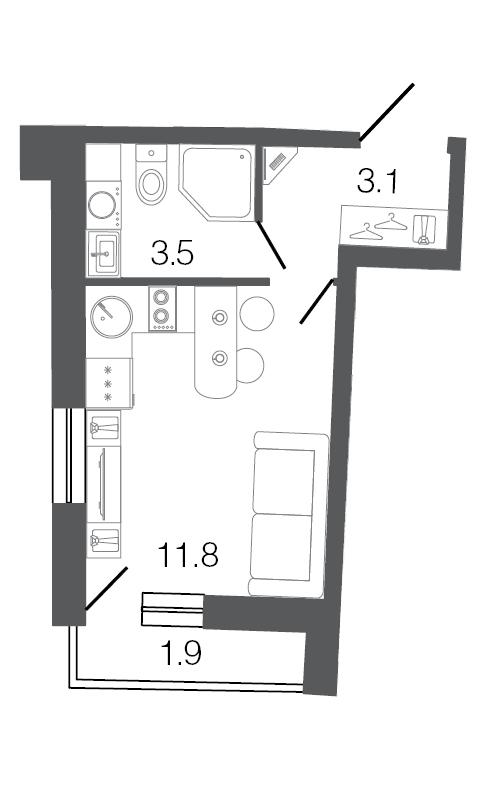 Планировка Однокомнатная квартира площадью 18.4 кв.м в ЖК «Ultra City»