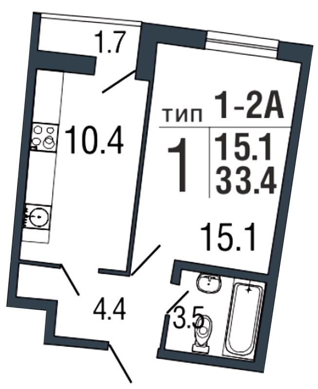 Планировка Однокомнатная квартира площадью 33.4 кв.м в ЖК «Ultra City»