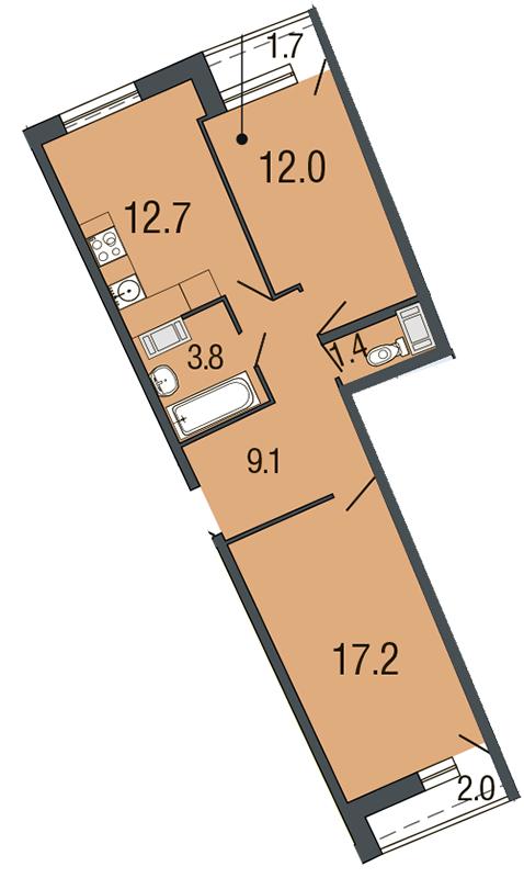 Планировка Двухкомнатная квартира площадью 56.3 кв.м в ЖК «Ultra City»
