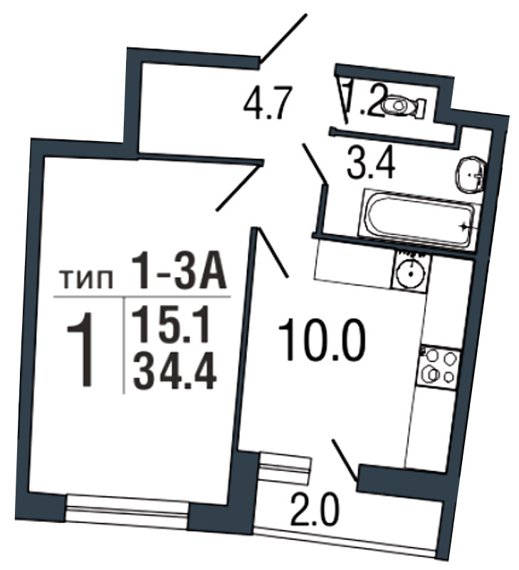Планировка Однокомнатная квартира площадью 34.4 кв.м в ЖК «Ultra City»