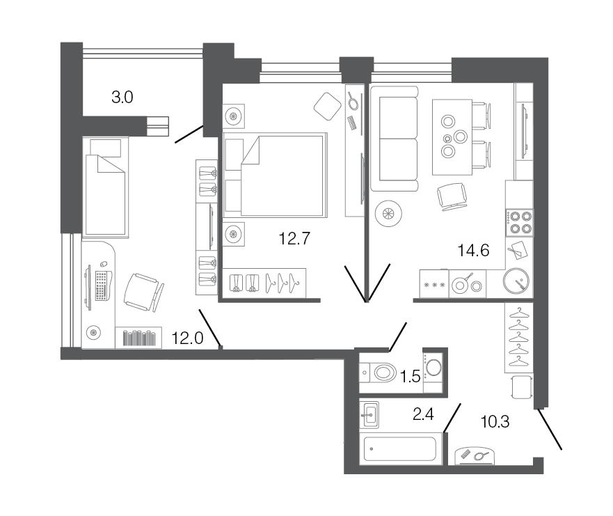 Планировка Двухкомнатная квартира площадью 53.5 кв.м в ЖК «Ultra City»